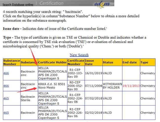 EDQM Search Bacitracin Result Interface Screenshot