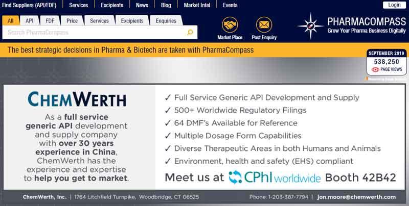pharmacompass website screenshot