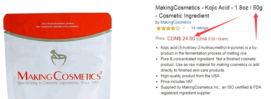 Pure kojic acid price from MakingCosmetics is 24.8cnd/50g