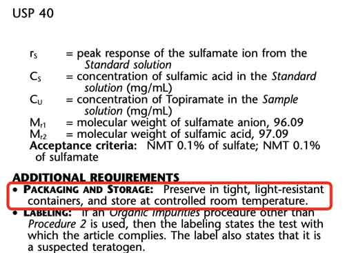 Storage Condtions for Topiramate in USP40