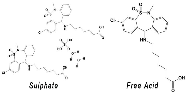 Tianeptine sulfate vs free acid
