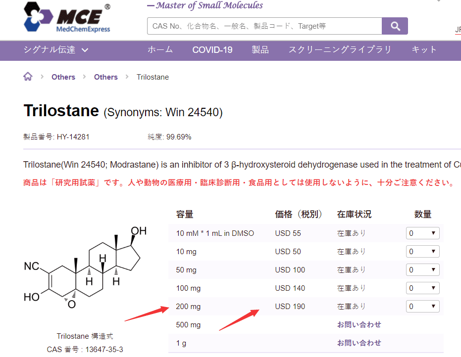 trilostane cost from MCE is 190usd for 200mg